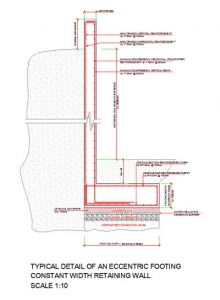 Basement retaining wall with eccentric footing structuraldetails