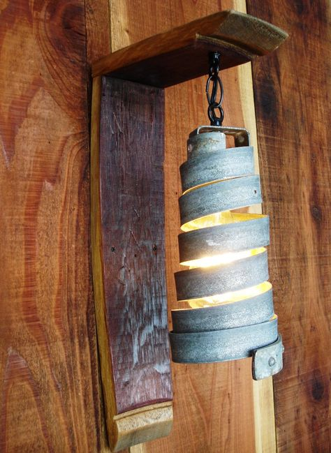 Wine Barrel Ring Wall Sconce Hanging Pendant Light -Open -100% RECYCLED from Napa Wine Barrels. $80.00, via Etsy.