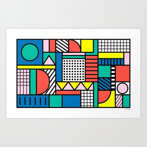 Memphis Color Block Art Print