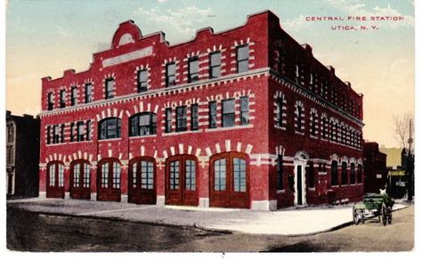 fire station postcard $12   Utica, Oneida county, Fire station