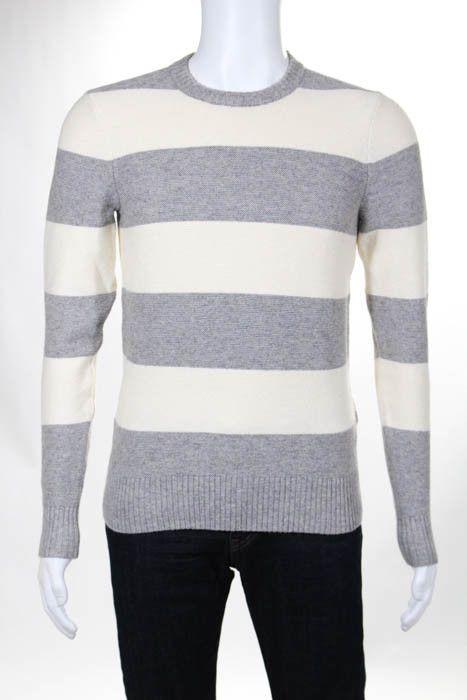 Jack Spade Mens Gray Beige Striped Cotton Knit Crew Neck