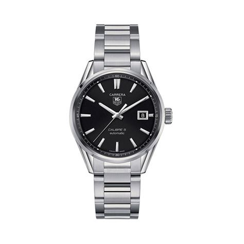 39mm Men's TAG Heuer Carrera Calibre 5 Automatic Watch with Black Dial and Stainless Steel Bracelet