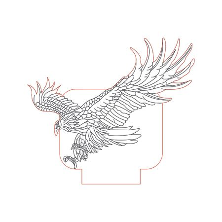 Eagle 3d Illusion Lamp Plan Vector File Op For Laser And Cnc 3bee Studio 3d Illusion Lamp 3d Illusions Clip Art Frames Borders