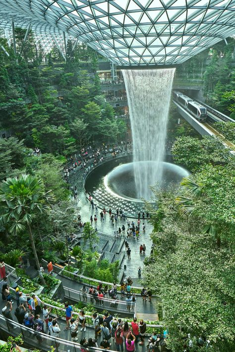 landscaping design Jewel is an integrated project at the Singapore Airport that creates a multi-sensory experience of nature and worlds tallest indoor waterfall Architecture Design Concept, Plans Architecture, Landscape Architecture Design, Green Architecture, Futuristic Architecture, Sustainable Architecture, Beautiful Architecture, Architecture Graphics, Landscape Architects