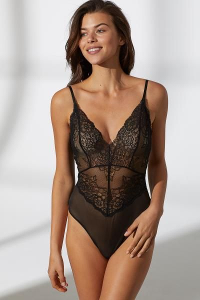 Lace Bodysuit - Black - Ladies   H&M US 1