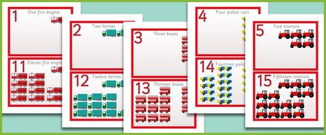Here is a series of 20 vehicle-themed number cards designed to be displayed as one long numberline. The 2 digit numbers are positioned beneath their corresponding 1 digit number so that the idea of 10 more is easier to understand.