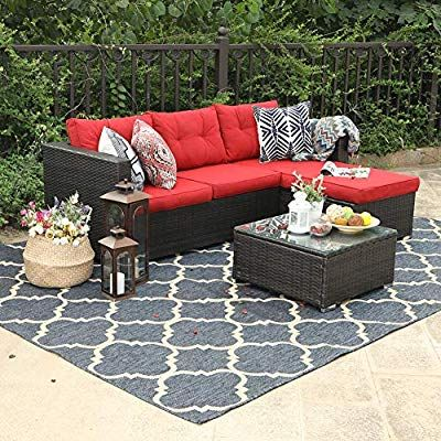 Amazon Com Phi Villa 3 Piece Outdoor Rattan Sectional Sofa