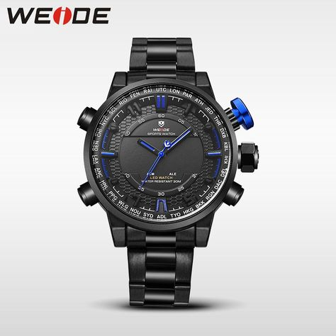 b1ccd4f10d5 WEIDE analog clock men Digital double display watch srainless steel  bracelets quartz sport waterproof electronic wrist watches. Yesterday s  price  US  28.97 ...