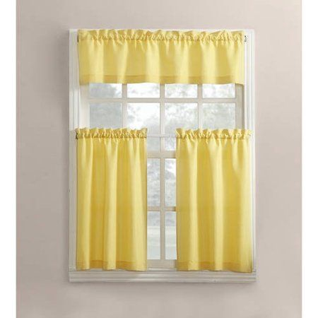 Mainstays Solid 3 Piece Kitchen Curtain Tier And Valance Set Kitchen Curtains Curtains Kitchen Valances