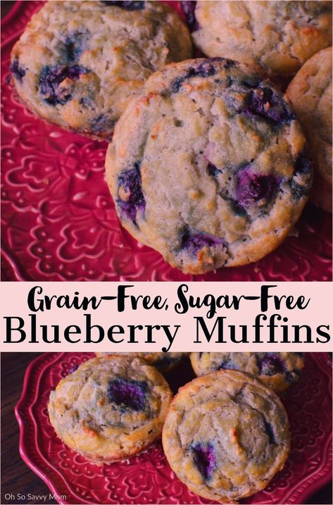 These protein-packed, Gluten-free Sugar-free Blueberry Muffins are the perfect guilt-free indulgence. With no artificial ingredients, they are perfect for breakfast, lunch, or snack! #baking #recipe #paleo #keto #cleaneating #candidadiet #coconutflour