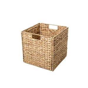 Trademark Innovations 12 In W X 12 In H X 12 In D Tan Water Hyacinth Basket Lowes Com In 2020 Storage Baskets Wicker Baskets Storage Woven Baskets Storage