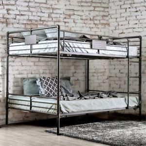 Bowery Hill Queen Over Queen Bunk Bed In Antique Black Topbedding