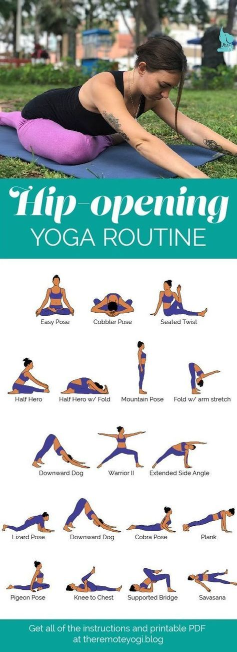 Hip Opening Yoga Flow Sequence PDF - the remote yogi Hip-Opening Yoga Routine. This yoga flow is designed to gently open the hips and release pain in the lower back. Get the free PDF Hip Opening Yoga Flow Sequence PDF Yoga Fitness, Fitness Workouts, Health Fitness, Hip Workout, Fitness Diet, Dumbbell Workout, Trainer Fitness, Fitness Routines, Travel Workout