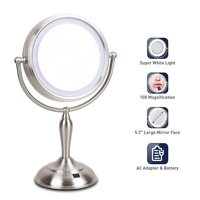 Advertisement Lighted Makeup Mirror 1x 10x Magnifying Mirror With Light 7 5 I In 2020 Led Makeup Mirror Makeup Mirror With Lights Lighted Magnifying Makeup Mirror