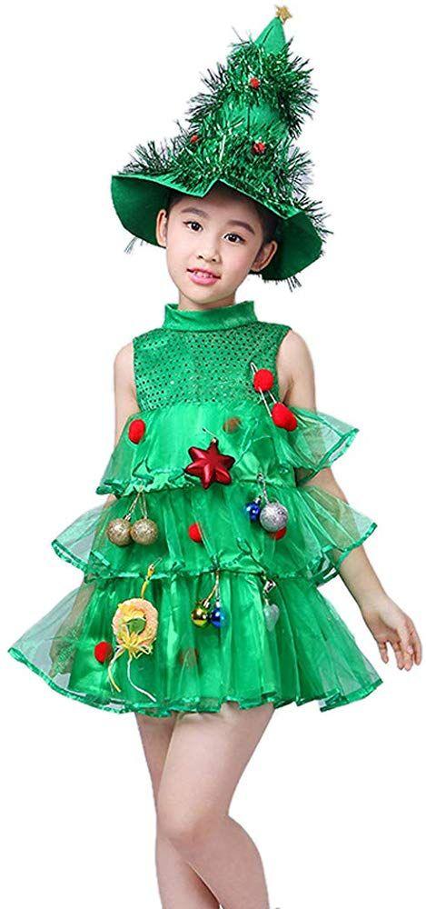 Amazon Com Segreto Girls Christmas Tree Dress Child Costume Fluffy Sequin Vest With Hat Clothing Christmas Tree Dress Tree Dress Kids Dress