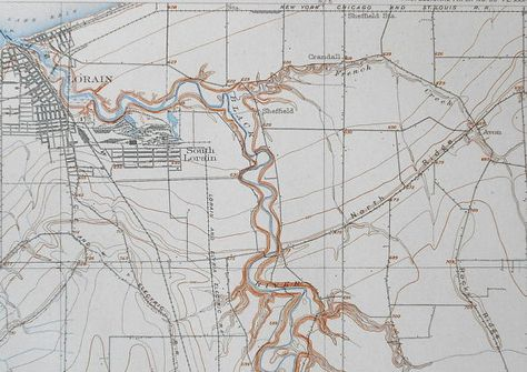 1908 Antique Map Lorain Ohio Oh Lake Erie Black River Railroads