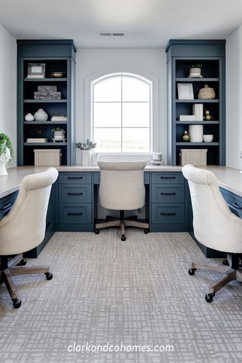 In the bonus room, an alcove houses built-in desks in a rich blue color with plenty of counter space and storage. Home Office Layouts, Home Office Design, Home Office Decor, Home Decor, Bedroom With Office, Office Ideas For Home, Office With 2 Desks, Office For Men, Home Office Furniture Ideas