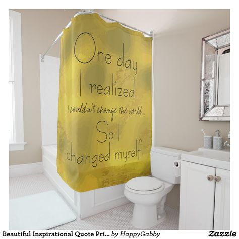 Beautiful Inspirational Quote Print Gold Shower Curtain Zazzle
