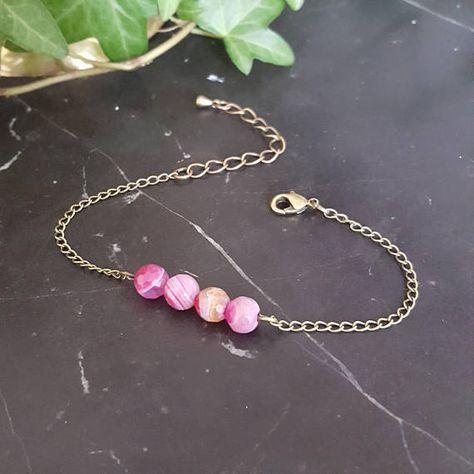 Bracelet Femme chaîne Perles en pierres naturelles Rose