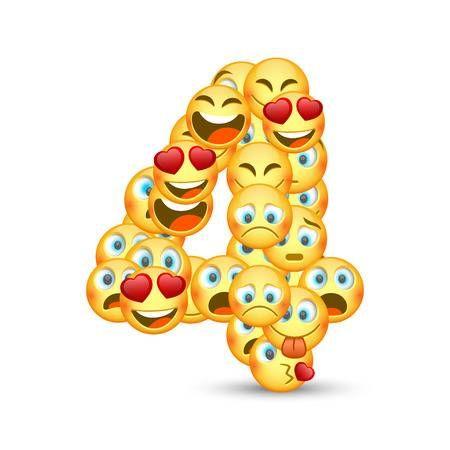 Zahl Nummer Number 4 Branch Vector Cool Emoji Kids Vector
