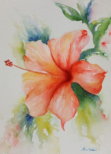 Hibiscus Flower Painting Water Colors Floral Watercolor Flower Painting Watercolor Flowers Paintings