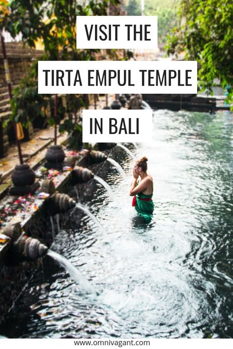 Visiting Ubud, Bali? Visiting the Tirta Empul Temple should be on your Bali travel itinerary! The Tirta Empul Temple is one of Bali's most beautiful places. Participate in the purification ritual and undergo one of the most unique experiences you will hav