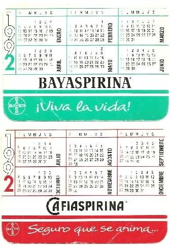 Capricho Argentina 1992 Bayaspirina Pocket Calendar Haliotis94