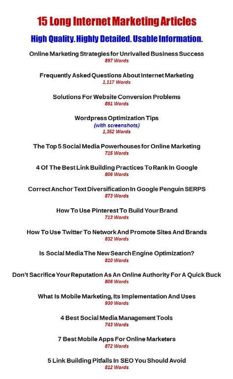 15 Long Internet Marketing Articles   Internet Slayers PLR