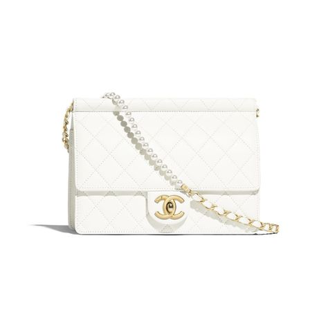 ab52b060a Lambskin, Imitation Pearls & Gold-Tone Metal White Flap Bag | CHANEL