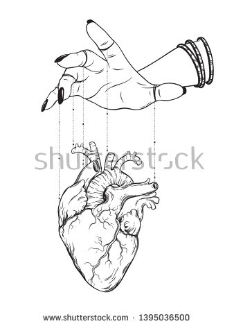 Stock Vector Puppet Masters Hand Controls Human Heart Isolated Sticker Print Or Black Human Heart Drawing Drawings Pinterest Hand Drawn Vector Illustrations