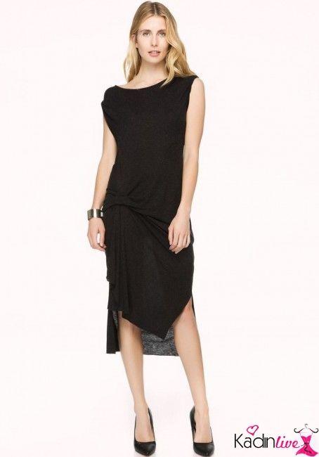 Ipekyol Siyah Asimetrik Kesim Penye Elbise Kadinlive Com Elbise Moda Stilleri Kadin Modasi