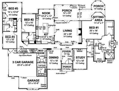 European Style House Plan 4 Beds 4 Baths 4095 Sq Ft Plan 20 1680 4000 Sq Ft House Plans Dream House Plans House Floor Plans