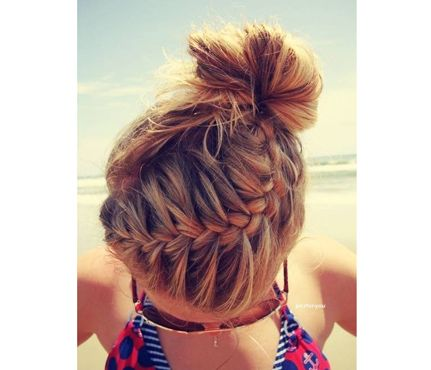 10 Easy Summer Hair Styles: Whether you're SUP'ing, playing volleyball or chillaxing in the sun (with your SPF!) we love a good French braid to keep sweaty strands out of our eyes. #SelfMagazine