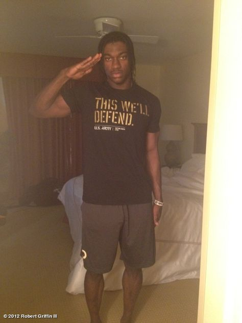 """(May 28, 2012) """"Salute, today & everyday, our Veterans for being our front line of Defense. My salute also honors 34 years of service by Mom & Dad"""" Robert Griffin III"""