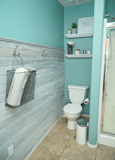 Diy Master Bathroom Makeover Accent Wall Shabby Chic Blue Wood Wall Painted Cab Master Bathroom Makeover Bathroom Makeover Master Bathroom Renovation