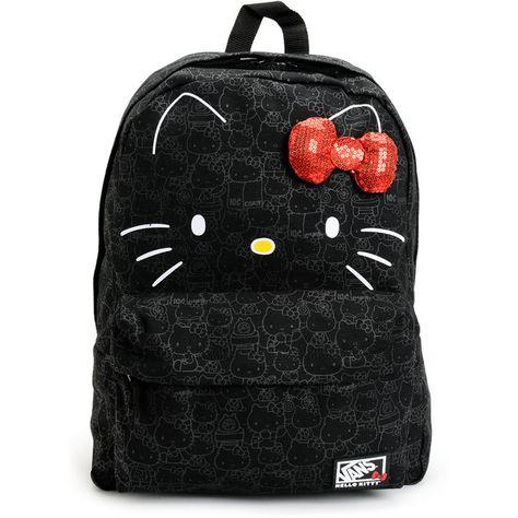 Vans Hello Kitty Blueprint Black Backpack (150 BRL) ❤ liked on Polyvore…