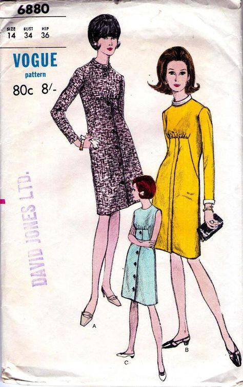 1960s Vintage Vogue sewing pattern Mad Men style dress Size | Etsy