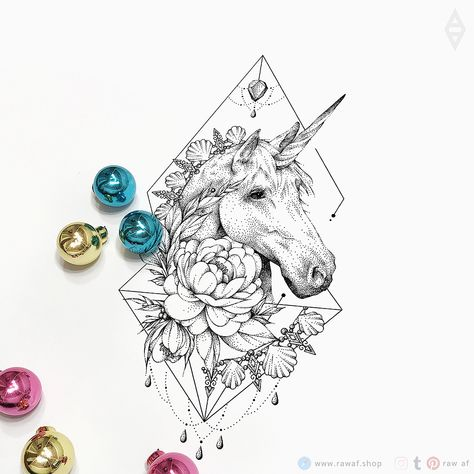 Dotwork unicorn flowers tattoo design