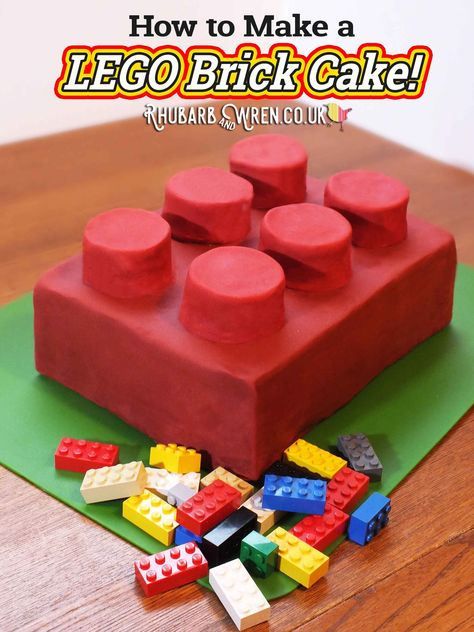 - Rhubarb and Wren Happy Birthday Brick - Lego Cake Recipe! Happy Birthday, Lego Birthday Party, Boy Birthday, Diy Lego Birthday Cake, Birthday Ideas, Lego Torte, Bolo Lego, Batman Cakes, Diy Cake