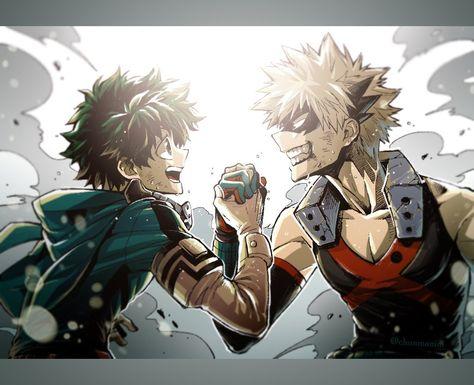 Bakugou katsuki & midoriya izuku my hero academia Manga Anime, Manga Art, Anime Guys, Anime Art, Wallpaper Kawaii, Hero Wallpaper, My Hero Academia Shouto, Hero Academia Characters, Rwby