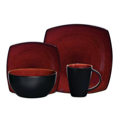 Pin By Ashh Goodman On Home 2 0 In 2020 Square Dinnerware Set Red Dinnerware Set Dinnerware Set