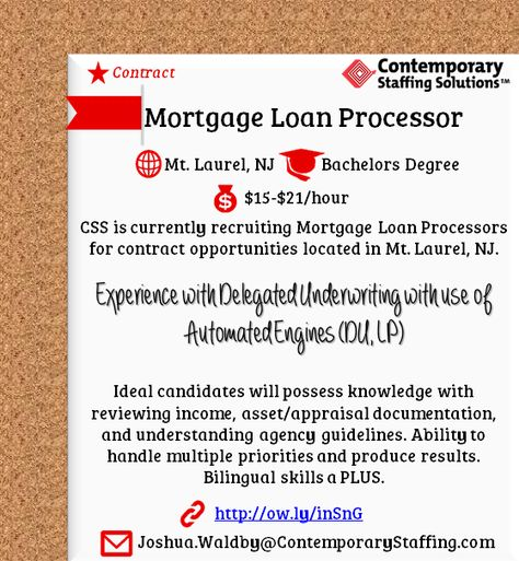 CSS is #hiring Loan Operation Support Specialists in Jacksonville - contract loan processor sample resume