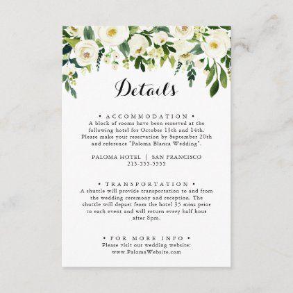 Greenery White Autumn Floral Wedding Details Enclosure Card Zazzle Com In 2020 Floral Wedding Wedding Details Wedding Transportation