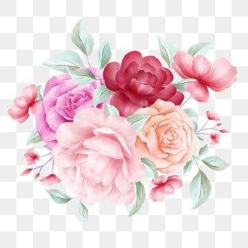 Elegant Flowers Bouquet For Wedding Or Greeting Cards Composition Watercolor Flower Botanical Png Transparent Clipart Image And Psd File For Free Download In 2021 Flower Painting Watercolor Flowers Flower Clipart