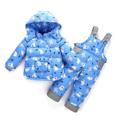 f7e148745 2017 Nuevo Invierno Ropa de Niños Sets de Pato Chaqueta de Conjunto  Chaqueta Pantalón Niñas con capucha Gruesa Capa + Salto traje para la nieve  Niños Overol