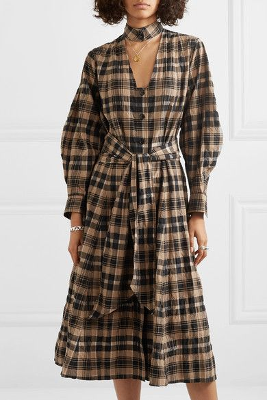 Ganni Belted Checked Seersucker Midi Dress Midi Dress