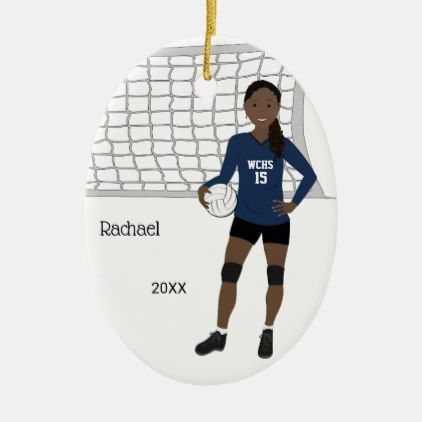 Volleyball Female Black Hair In Dark Blue Black Ceramic Ornament Zazzle Com Black Hair Black And Red Girls With Black Hair