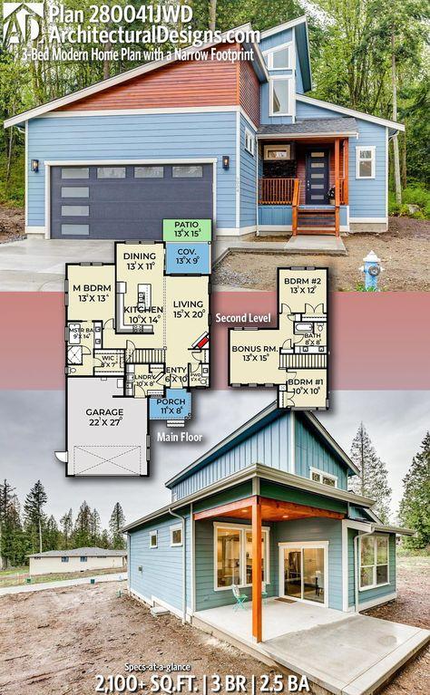 Plan 280041JWD: 3-Bed Modern Home Plan with a Narrow Footprint