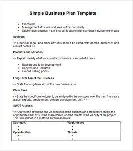 Simple Business Plan Templates Simple Business Plan