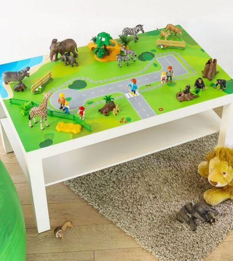 Une table de jeu Playmobil avec LACK Playmobil, Ikea hack and - jeux de construction de maison en d